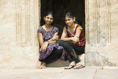 Sisters at Doorstep Royalty Free Stock Photo