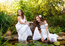 Sisters draw water from a pond. Royalty Free Stock Photos
