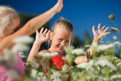 Sisters in a field of yarrow. Two young children (sisters) playing in a field of yarrow royalty free stock photos