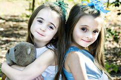 Sisters, Friends and a Bear Royalty Free Stock Photo