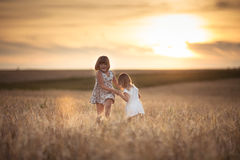 Sisters girls walk in the field with rye sunset Stock Images
