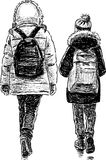 Sisters go home from a school. Vector drawing of the girls walking Royalty Free Stock Photo