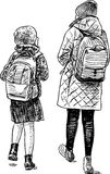 The sisters go from school. Vector drawing of the kids go to home from school Stock Photography