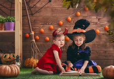 Sisters on Halloween Stock Photo