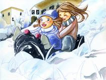 Sisters having fun on the snow Stock Images