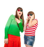 Sisters Having Fun While Watching 3D Movie Stock Image