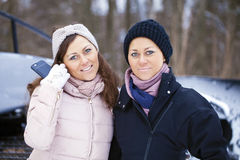 Sisters having selfie photo on ski resort Stock Photos