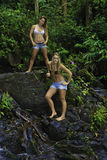 Sisters in a hawaiian rainforest Royalty Free Stock Photography