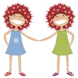 Sisters holding hands stock photography
