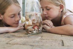 Sisters Looking At Seashells In Bottle Stock Photography