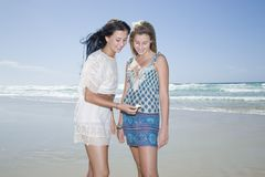 Sisters looking at shell on beach Royalty Free Stock Photo