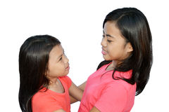 Sisters meet again. Two sisters in harmony with the joy of meeting again stock photography