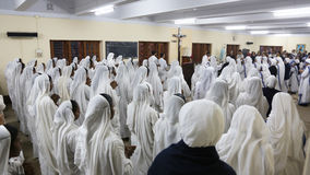 Sisters of The Missionaries of Charity at Mass in the chapel of the Mother House, Kolkata Royalty Free Stock Photography