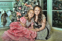 Sisters near a Christmas tree Stock Image
