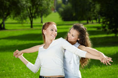 Sisters in the open air Royalty Free Stock Image
