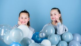 Sisters organize home party. Having fun concept. Balloon theme party. Girls best friends near air balloons. Start this. Party. Birthday party. Happiness and royalty free stock photos