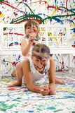 Sisters Painting Royalty Free Stock Photography