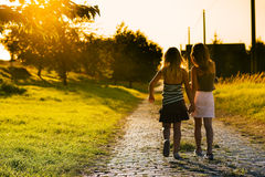 Sisters on path Stock Photos