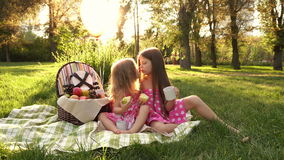 Sisters picnic. Two little cute sister at a picnic. Outdoor Activities. For picnic basket Balloons tied. Sister kiss stock video
