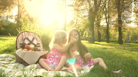 Sisters picnic. Two little cute sister at a picnic. Younger sister treats older pear. Outdoor Activities. For picnic basket Balloons tied stock video footage