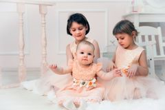 Sisters poising in beautiful dresses royalty free stock images
