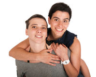 Sisters portrait hugging Stock Photography