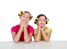 Sisters portrait on white background Stock Photos