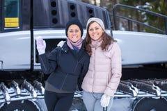 Sisters posing on ski resort Royalty Free Stock Photos