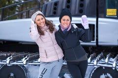 Sisters posing on ski resort Royalty Free Stock Images