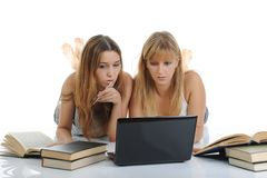 Sisters are preparing for the exam Stock Photos