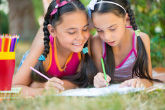 Sisters reading book in summer park Stock Photos