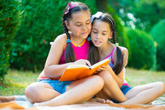 Sisters reading book in summer park stock images