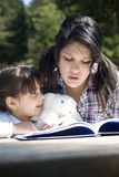 Sisters reading book together Stock Images