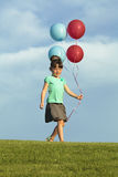 Sisters Running With Balloons Stock Images