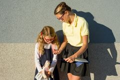 Sisters schoolgirls in school uniforms study in the open air. Royalty Free Stock Images