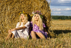 Sisters sitting on the field. Blond sisters sitting on the field Stock Image