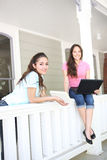 Sisters Studying at Home Royalty Free Stock Image