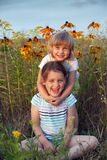 Sisters  on summer meadow. Two little sisters walking on summer meadow royalty free stock photos
