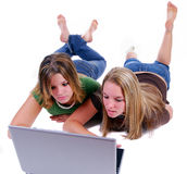 Sisters Surfing The Net Stock Image