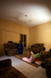 3 sisters in a traditional house in Bamako Stock Images