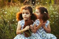 Sisters twin toddlers kissing and laughing in the summer outdoors. Curly cute girls. Friendship in childhood. Warm sunligh. Sisters twin toddlers kissing and Royalty Free Stock Images