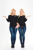 Sisters twins holding copyspace on the palms Royalty Free Stock Photos