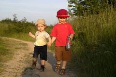 Sisters on the walk. Sisters on the wak in sunset light Stock Photo
