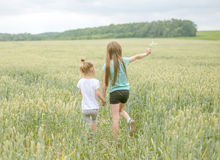Sisters walking through field, picking flowers, backshot Royalty Free Stock Photography