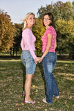 Sisters walking hand to hand Royalty Free Stock Image