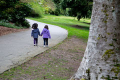 Sisters walking together in the park. Young Sisters holding hands as they walk the road together Royalty Free Stock Image