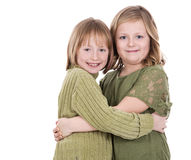 Sisters on white background Stock Photo