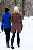 Sisters on a winter walk Royalty Free Stock Image