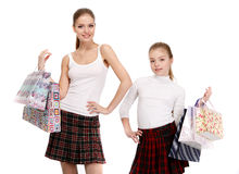 Sisters With Shopping Bags Royalty Free Stock Image