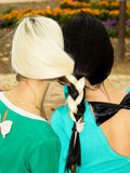 Sisters woven braid hair Royalty Free Stock Photography